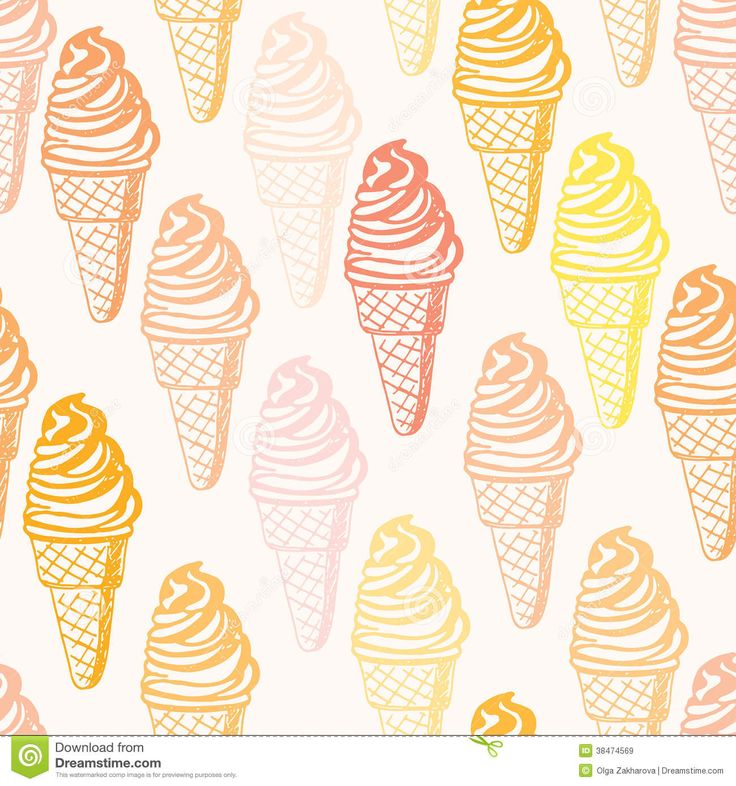 Seamless Pattern With Hand Drawn Watercolor Ice Cream: 209 Best Images About Ijsjes On Pinterest