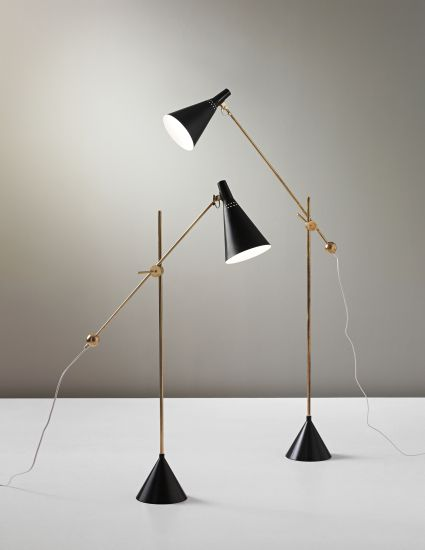 Tapio Wirkkala, pair of standard lamps, model no. K 10-11, circa 1954 for Idman. Phillips Nordic Design, September 2013.