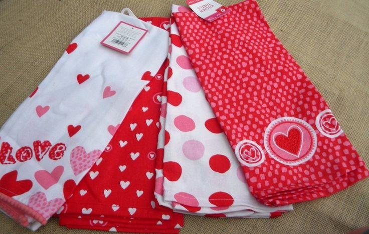 Kitchen  dish Tea Towel set 4 New Love Hearts red white poka dots
