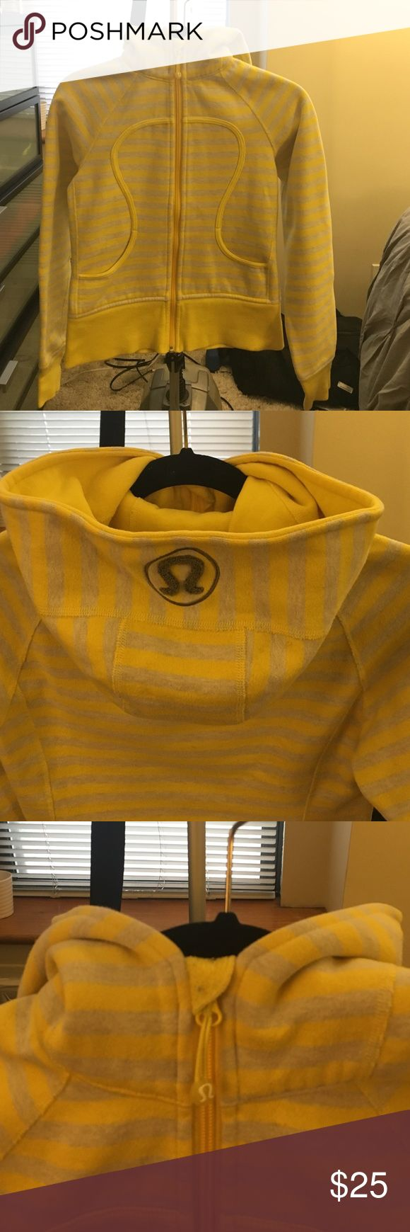 Lululemon Scuba Hoodie Yellow and grey stripped lululemon scuba hoodie. In great condition! Older version without monkey holes and shorter length perfect for petite women! lululemon athletica Tops Sweatshirts & Hoodies