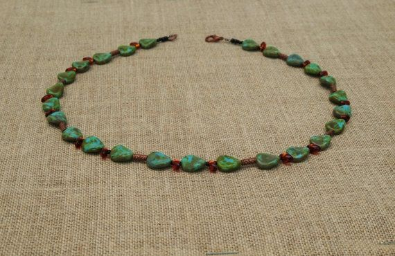 turquoise Czech glass necklace by BijoubeadsLondon £23.00