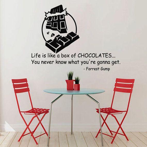 Cioccolato Wall Decal vita citazioni scatola di cioccolatini cucina Cafe Decor vinile autoadesivo Home Decor Vinyl Wall Art Decor Nursery Room Decor KG300