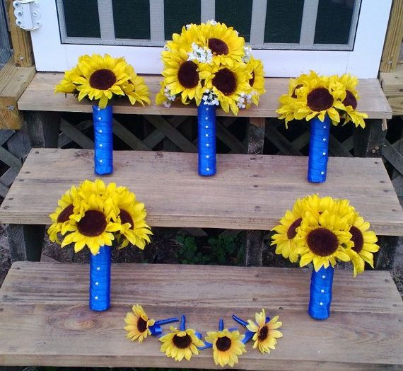 Sunflower Bouquet Sunflower Wedding Yellow by SilkFlowersByJean, $359.00
