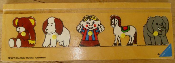 Vintage houten puzzle, Ravensburger, jaren '70, kinderpuzzel, houten puzzel, 5 puzzelstukjes, dieren door MyVintageAndMore op Etsy