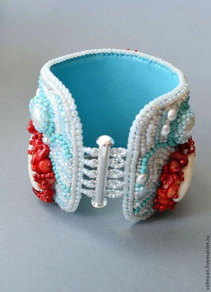 широкий вышитый бисером браслет летнее украшение морской стиль браслет с ракушками