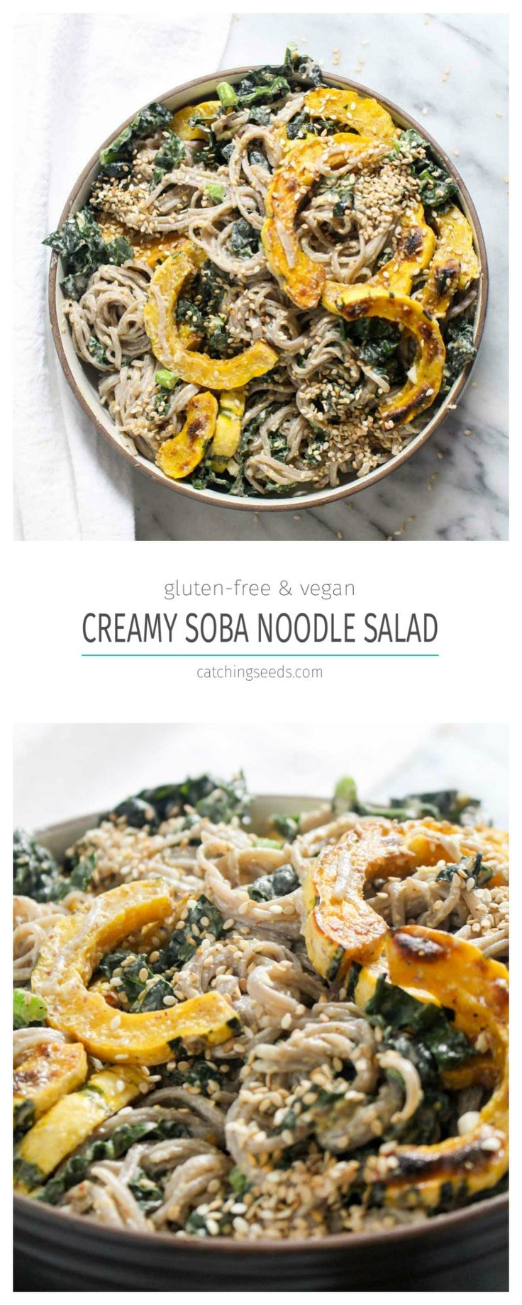 This healthy 9 ingredient Soba Noodle Salad recipe is coated in a creamy and nutty tahini dressing and studded with caramelized winter squash and fresh kale. This gluten-free and vegan meal is equally perfect for lunch or dinner.   CatchingSeeds.com