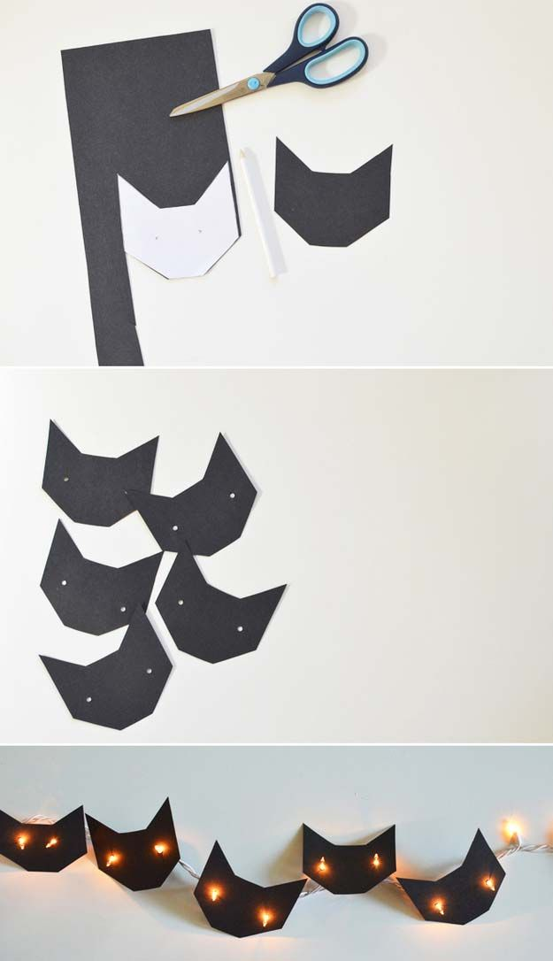 Cool Ways To Use Christmas Lights - Black Cats and Friendly Ghost - Best Easy DIY Ideas for String Lights for Room Decoration, Home Decor and Creative DIY Bedroom Lighting - Creative Christmas Light Tutorials with Step by Step Instructions - Creative Crafts and DIY Projects for Teens, Teenagers and Adults http://diyprojectsforteens.com/diy-projects-string-lights