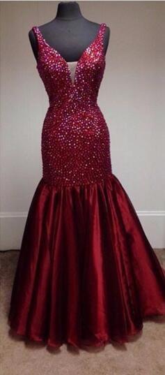 Red Beaded Mermaid Dress Fashion Cocktail Dress Deep V-neck Halter Dress Balloon Length Sexy Women Evening Dress