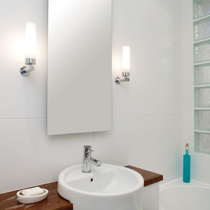 Astro Lighting Tube Bathroom Wall Light With Polished Chrome Arm And White  Opal Glass Tube Diffuser