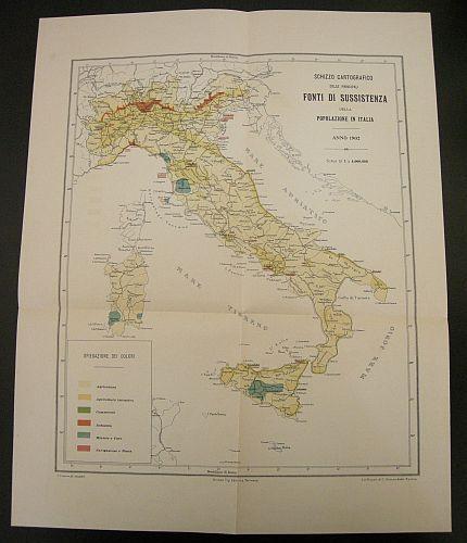 Luswergh C. - Schizzo cartografico delle principali fonti di sussistenza della popolazione in Italia. Anno 1902. s.d. (ma 1902). Cartina - Cartografia tematica - Italia - Sussistenza - Società - Sociologia -  Stampa - Geografia -  -