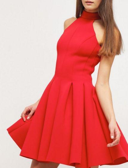 Miss Selfridge Sukienka wieczorowa czerwona rozkloszowana z golfem red