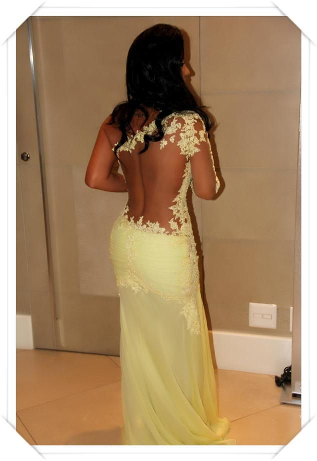 2014 Mermaid One Shoulder Lace Organza Evening Dresses Party Gowns Online Shop