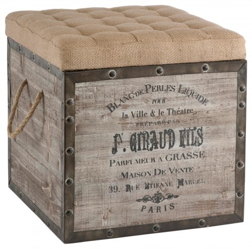 Kathy Kuo Home - French Country Vintage Crate Burlap Cushion Cube Storage  Ottoman - This old wood crate look has a tufted burlap removable top and  woven ... - 25+ Best Ideas About Eclectic Ottomans And Cubes On Pinterest