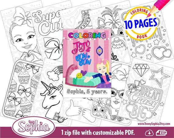 Jojo Siwa And Bow Bow Coloring Pages 10 Pages Pdf Digital File