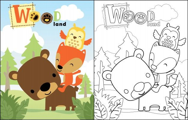 Coloring Book Vector Of Little Tiger With Monkey In 2020 Cartoon Animals Coloring Books Cartoon