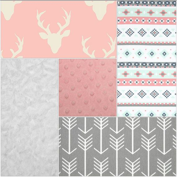 **Designs by ChristyS original design** Ensemble includes: Option 1: 1.Crib skirt- gray arrow 2.Crib sheet-aztec stripe 3.32x36 Blanket- pink buck and white crushed minky  Option 2: 1.Crib skirt- gray arrow 2.Crib sheet-aztec stripe 3.32x36 Blanket- pink buck and white crushed minky 4.Bumper-pink buck with white ties  Option 3: 1.Crib skirt- gray arrow 2.Crib sheet-aztec stripe 3.32x36 Blanket- pink buck and white crushed minky 4.Long rail guard-gray arrow and pink buck with white ties…