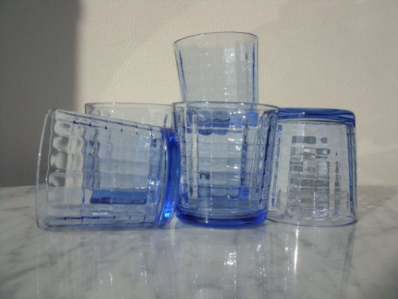 Clear Blue Reverse Block Optic Glass Tumblers Set by orchard8retro