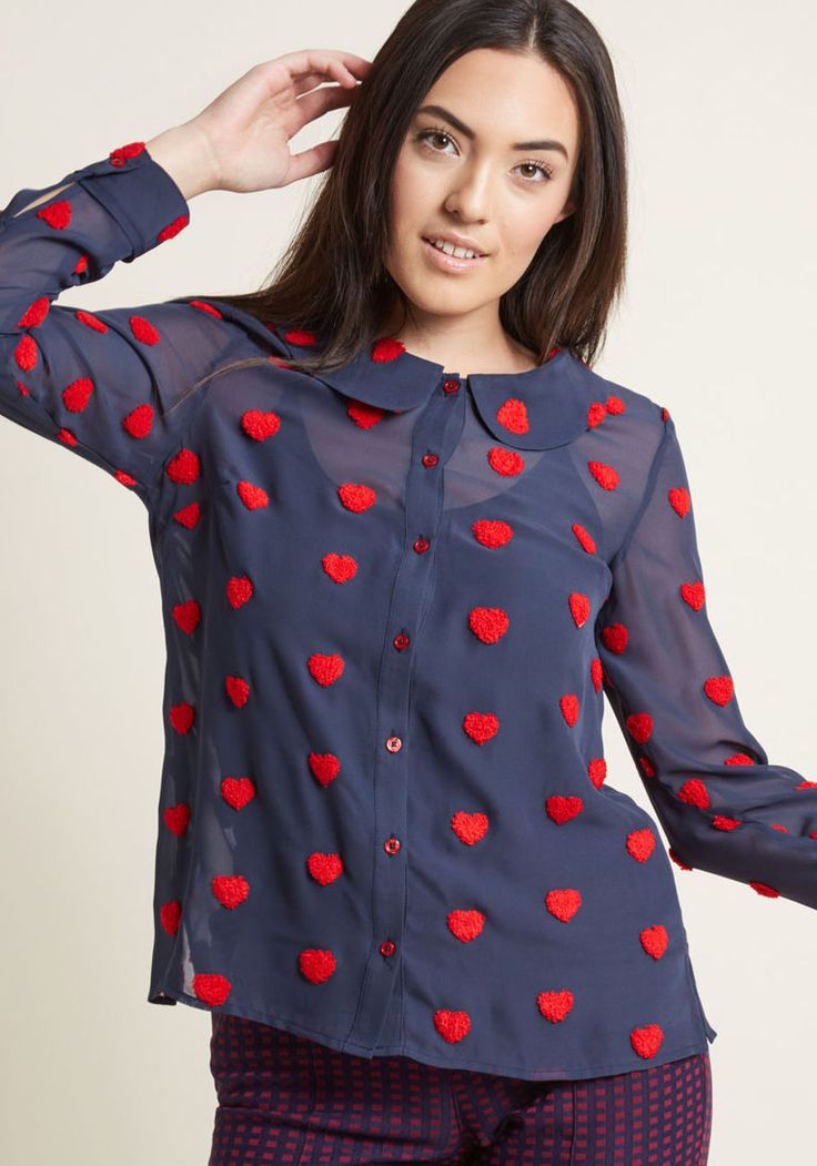 Sheer Chiffon Blouse with Chenille Heart Dots in 1X - Long Regular Waist by ModCloth