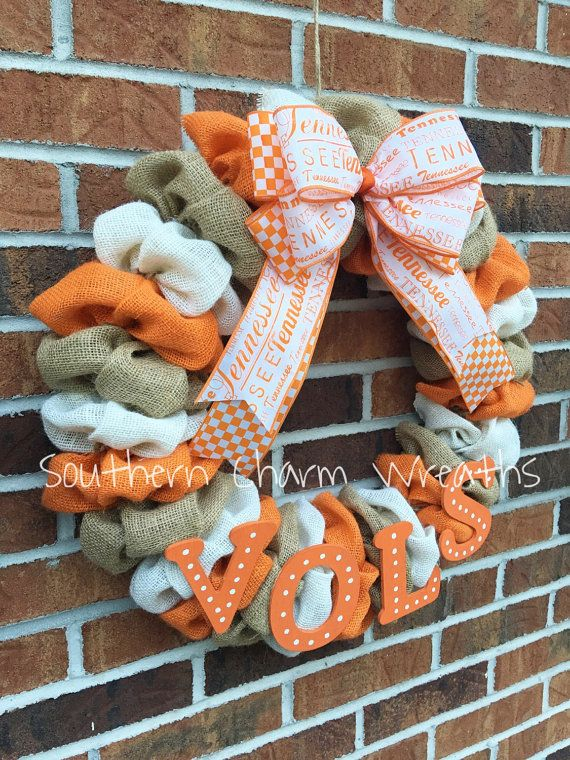 Burlap University of Tennessee UT Vols Wreath by southcharmwreaths