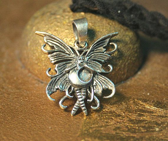 Darling Bubble Fairy Pendant antiqued 925 by SilverMoonGalleria