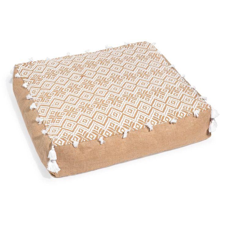 Coussin de sol à pompons en toile de jute 60 x 60 cm TANIMBER