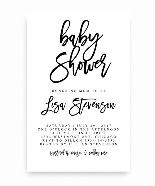 Elegant,black And White Baby Shower Invitation, Modern Invitation, Plain Baby  Shower Invitation