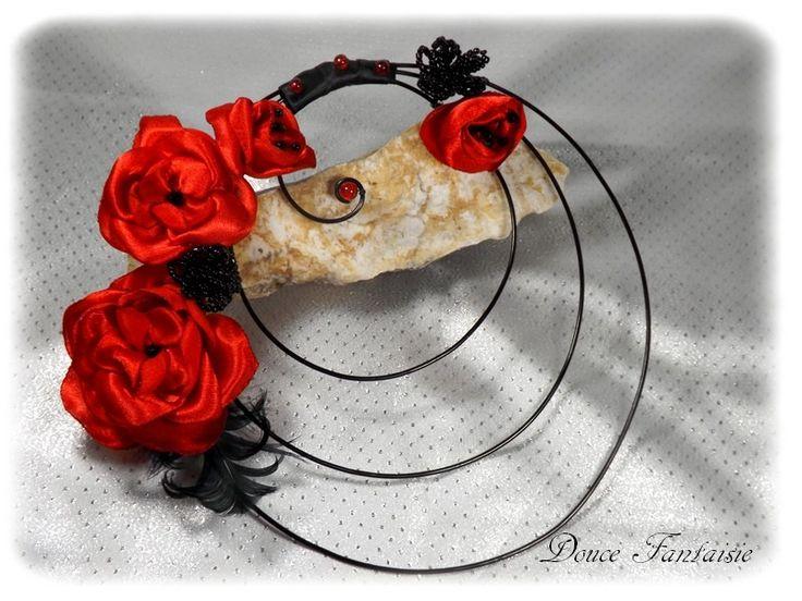 bouquet de mari e rouge et noir original en fil aluminium fleurs artificiel fait main photos. Black Bedroom Furniture Sets. Home Design Ideas