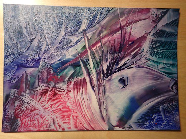 """Porcupine baby (sur papier bleu - """"essuyages retravaillés"""")"""