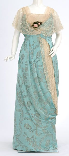 Robin's egg blue brocaded satin evening gown with lace detailing, by dressmaker Elizabeth Elser, American (Minneapolis), 1910-19.
