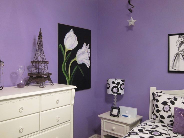 Lilac Bedroom Walls | bedroom-cool-teen-bedroom-makeover-with-purple-wall-color-and-white ...
