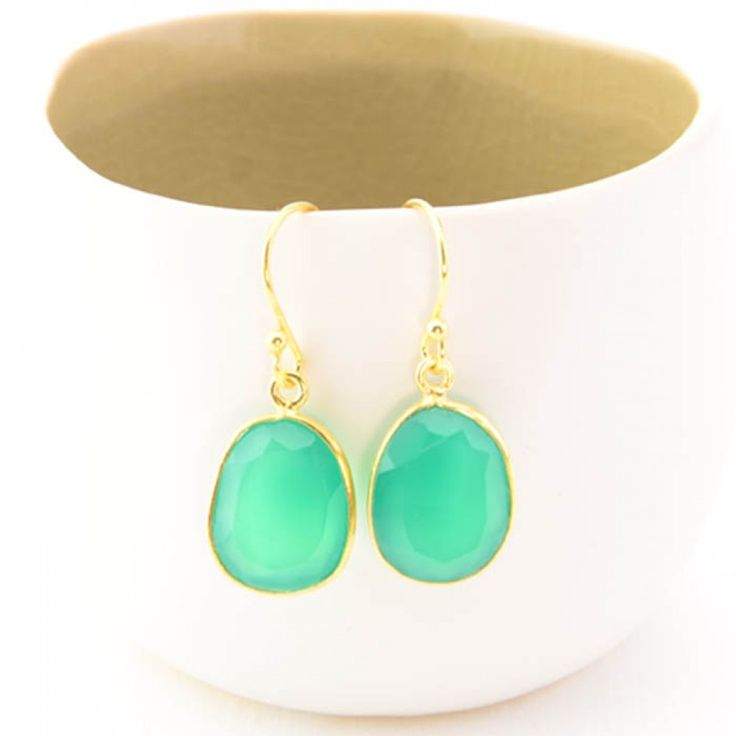 Cuff and Stone Striking Green Onyx Earrings