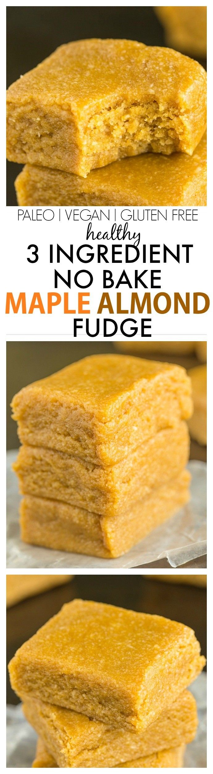 Healthy 3 Ingredient No Bake Maple Almond Fudge- A quick, easy and delicious recipe which melts in your mouth and has NO butter, oil, flour or sugar- It only takes FIVE minutes! {vegan, gluten free, paleo, refined sugar free}