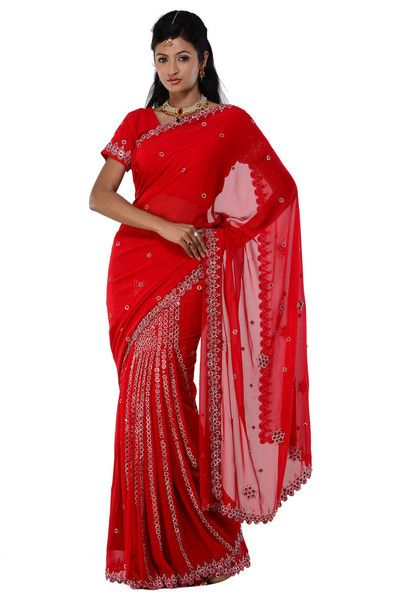 Rent Red Ready-made sari saree stitched blouse and petticoat for indian wedding, party-wear | Saris and Things