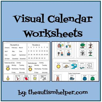Visual Calendar Worksheets for Autism, Special Education, or Early Childhood! {this packet includes 3 visual worksheets} by theautismhelper.com
