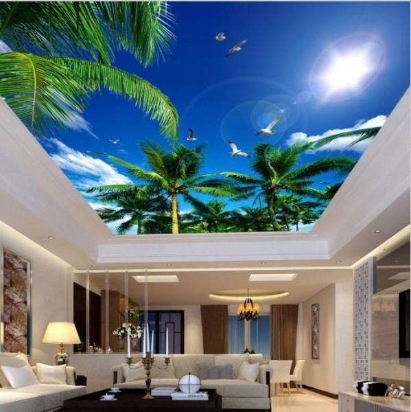 3d Custom Tropical Coconut Trees Sky Ceiling Wallpaper Mural Ceiling Murals Wallpaper Ceiling Sky Ceiling #palm #tree #decor #for #living #room