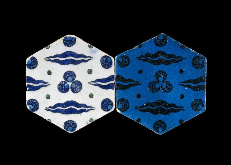 Object type tile Museum number 1887,0617.28 Description Tile.(2). With chintamani and cloud scrolls. Made of black painted and turquoise glazed pottery. School/style Iznik Culture/period Ottoman dynasty term details Date 16thC