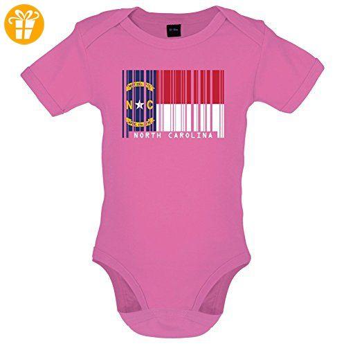 North Carolina / Nord-Carolina Barcode Flagge - Lustiger Baby-Body - Bubble-Gum-Pink - 12 bis 18 Monate - Baby body (*Partner-Link)