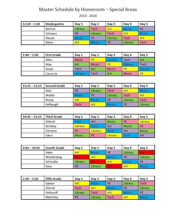 elementary school master schedule template