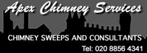 APEX CHIMNEY SERVICES offer a complete range of chimney related services from simple chimney sweeping to full surveys including smoke testing, CCTV surveys and fireplace sizing for complete peace of mind.