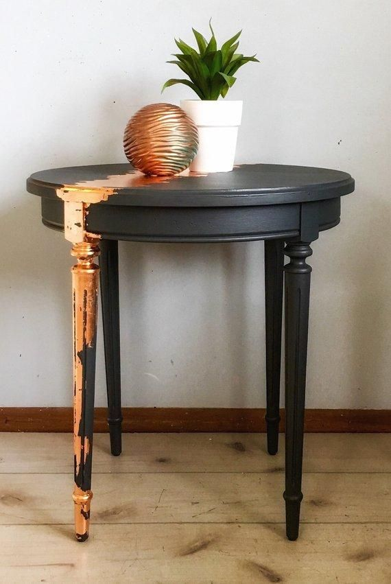 Gorgeous Pair of Vintage Side Tables With Copper Leaf