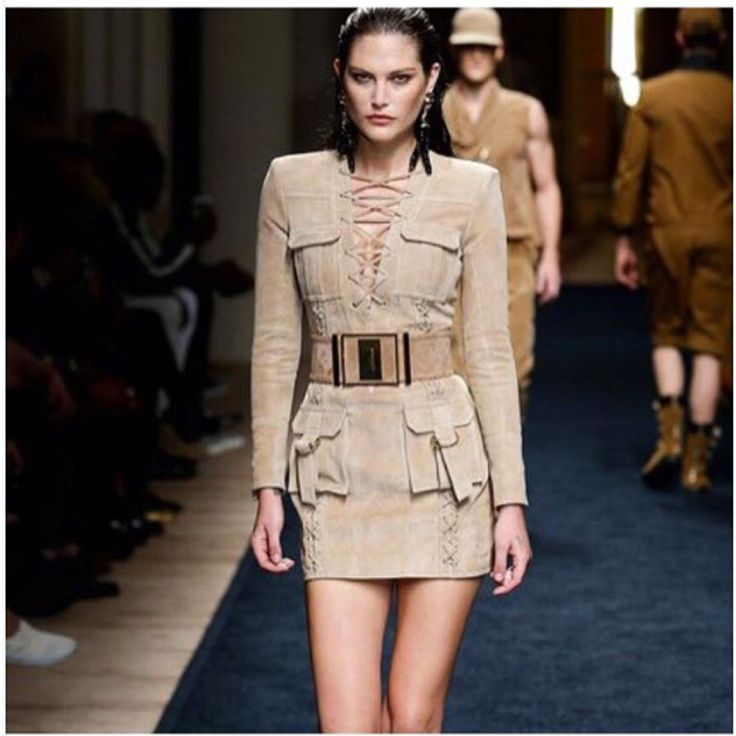 HIGH QUALITY Newest Fashion 2016 BAROCCO Unique Runway Dress Women's Long Sleeve Deep V Lacing Vintage Faux Suede Dress //   Цена: $ US $57.79 & Бесплатная доставка //    #fashionmartonline #мода #стиль