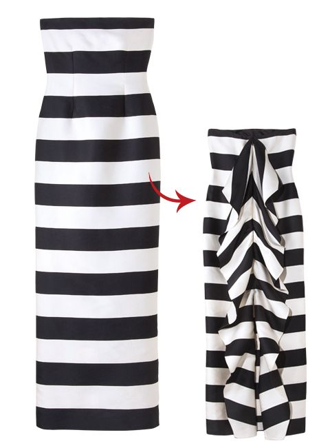 A striped floor-length dress, like this CH Carolina Herrera gown, is perfect for a country club wedding.