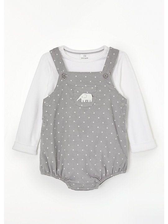 ce2bf08ceb95 John Lewis & Partners Baby Cord Star Print Romper Set, Grey/White ...