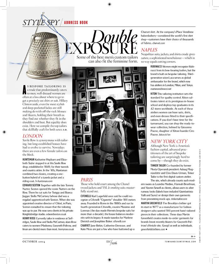 Town and Country USA – The best men's tailors can also fit the feminine form- October 2014