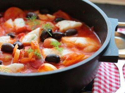 Torskegryte med paprika og sorte oliven - TRINEs MATBLOGG
