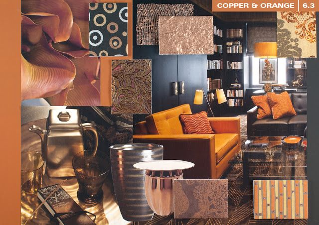 Copper & Orange Trendcollage interieur 2013/2013 by trendwatcher Milou Ket by C-More  sluit mooi aan bij de kopertinten in stoffen van onze True Ellegance lijn. www.lifestye-interior.nl