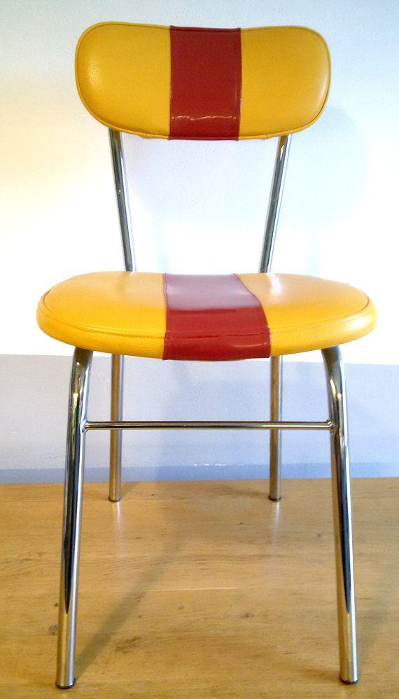 VIPERCHAIR  sedia 70's in vera pelle di vitello giallo di ValllRAS