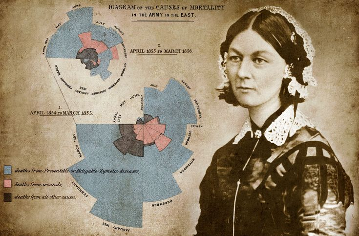 Born on 12 May 1820 in Firenze, Tuscany, Florence Nightingale made nursing a respectable career and has been called the Founder of Modern Nursing. She also used diagrams to illustrate how the majority of deaths in the Crimea war were caused by sickness rather than wounds and persuade people of the need for change.
