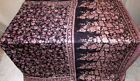 Pure silk Antique Vintage Sari Saree Fabric REUSE 4y Fti Black CURTAINS RARE BUY