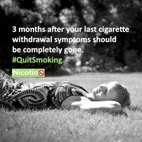 3 months after your last cigarette withdrawal symptoms should be completely gone. #QuitSmoking http://nicotino.com/quit-smoking-timeline/